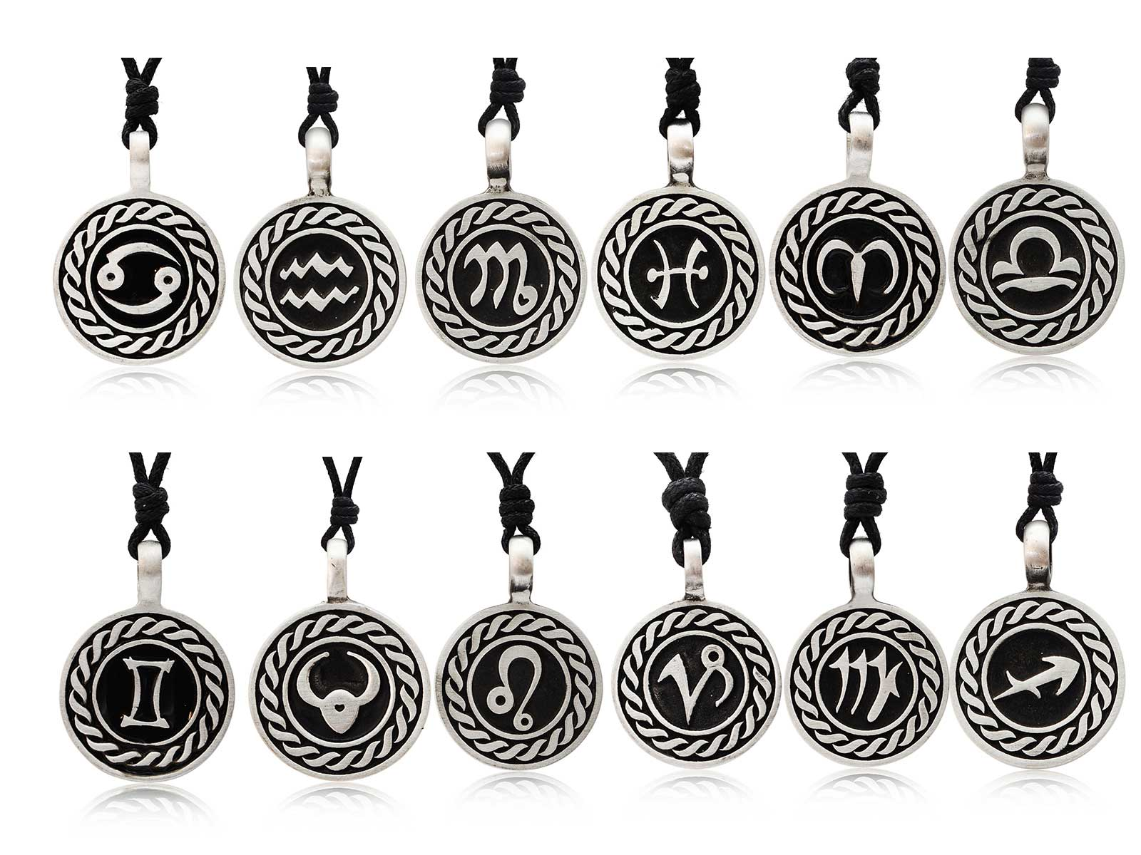 Astrology Sign Horoscope Silver Pewter Charm Necklace ... - photo#2